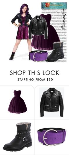"""""""DIY Halloween Costume Mal Descendants"""" by camilita98star ❤ liked on Polyvore featuring Oris, Yves Saint Laurent, COSTUME NATIONAL and Disney"""