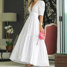 White Maxi Dresses, Pretty Dresses, Beautiful Dresses, Casual Dresses, Dresses With Sleeves, Summer Dresses, White Maxi Dress Casual, White Dress Outfit, Elegant White Dress