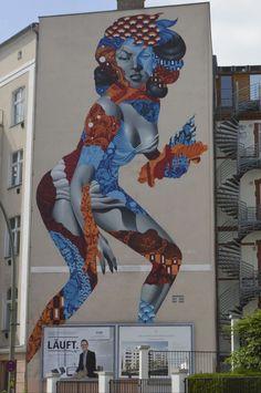 Postcards from Berlin - Attack of the 50 Foot Socialite by Tristan Eaton, Am Friedrichshain Berlin #mural #streetart Yarn Bombing, Berlin, Street Art, Berlin Germany