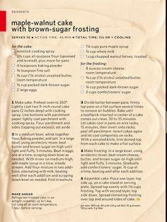 Maple Walnut Cake with Brown Sugar Frosting via Everyday Food Cupcake Frosting, Cupcake Cakes, Cupcakes, Brown Sugar Frosting, Maple Walnut, Walnut Cake, Angel Food Cake, Pound Cakes, Baby Jesus