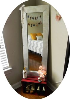 Turn a $15 target mirror into a beautiful wood framed mirror. DIY.
