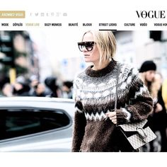 Crossing the street in Milan @vogueparis @sandrasemburg wearing chunky knit from @replay aw16 #vogue #ad #knit #CelineAagaard #mfw #Gucci
