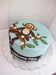 Monkey Boy Baby Shower Cake!    For some more Monkey Boy Baby Shower Ideas visit:  http://www.modern-baby-shower-ideas.com/Monkey-boy-baby-shower.html