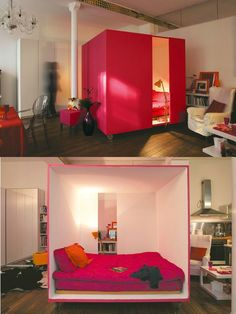 Mobile Cube Bed, great for open space living like in a warehouse or church...