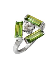 Bague Tribeca Or blanc Diamant Tourmalines vertes