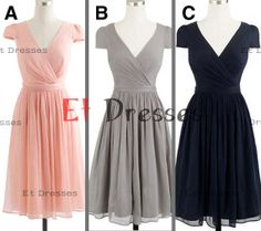 Cap sleeves chiffon pleated in different color bridesmaid dress ,prom dress