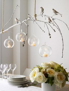 tree branch decor ideas for lighting with candle and birds over dining table : Branch Decor Ideas For Home. branch decor wall art,branch home decor,branch wall decor,decorating the home,tree branch decor Branch Chandelier, Branch Decor, Chandelier Ideas, Bird Branch, Branch Art, Unique Chandelier, Chandelier Crystals, Hanging Chandelier, Rama Seca