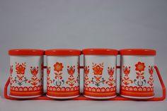 Vintage spice jars with rack