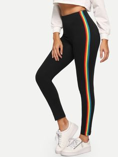 Shop Rainbow Side Leggings at ROMWE, discover more fashion styles online. Cute Leggings, Printed Leggings, Leggings Are Not Pants, Cheap Leggings, Legging Sport, Sports Leggings, Sporty Outfits, Cute Outfits, Fashion Outfits