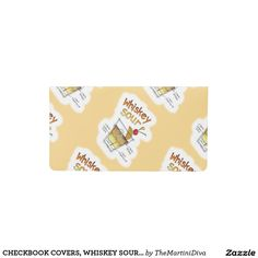 CHECKBOOK COVERS, WHISKEY SOUR RECIPE COCKTAIL ART CHECKBOOK COVER