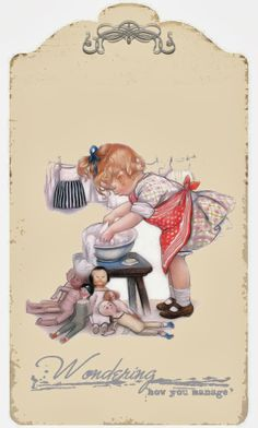 Vintage Illustration wash day would like to do a layered cut on this one for the laundry room Images Vintage, Vintage Pictures, Cute Pictures, Vintage Labels, Vintage Ephemera, Vintage Postcards, Etiquette Vintage, Vintage Greeting Cards, Vintage Children