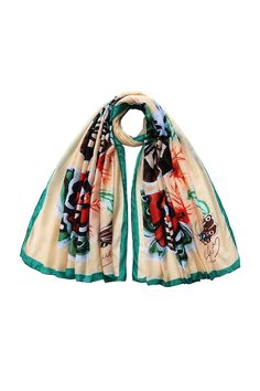 """Pink printed scarf with a lightweight construction.    Measures: 40"""" x 70""""   Butterfly Scarf by Violet Del Mar. Accessories - Scarves & Wraps San Diego, California"""