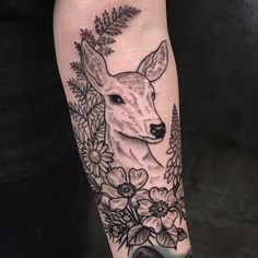 Doe + WI flora done today by Leah at Waukesha Tattoo Co in Waukesha, WI