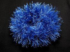 Chouchou scrunchie élastique à cheveux tricoté 100% polyester bleu - Produits fabriqués au Québec par Créations Claudène