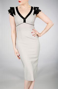 Sexy Retro dress in Dove Grey, Bias Cut Ruffle - Stop Staring! Clothing