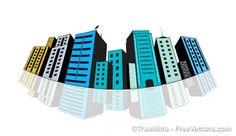 Coloridos edifícios da cidade