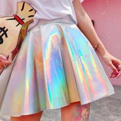 2f7a33843 Holographic Skirt Festival Wear Metallic Silver festival Clothing ...