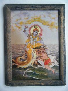Rare Lord Vishnu Matsya Avatar God Old Art Print in Old Wooden Frame India #2290 #Collectible
