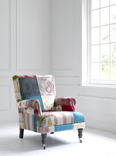 Striking patchwork chair <3 http://www.justfabrics.co.uk/furniture/patchwork-furniture/