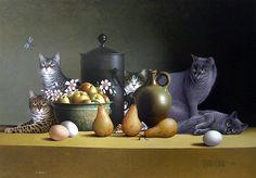 Still Life with Three Eggs and Four Pears, Braldt Bralds