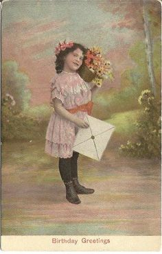 "#Antique  #Postcard ""Birthday Greetings"" Little Girl with Bouquet of #Daisies and Large Card @PostCardsInTheAttic"