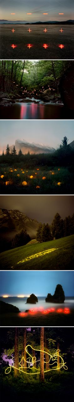 American artist Barry Underwood and his stunning, candy-hued lights floating magically in nature.