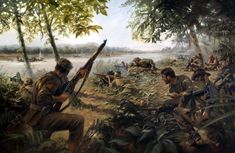 La Pintura y la Guerra 1944 Ambush on the banks of the Ayeyarwady River - Stuart Brown