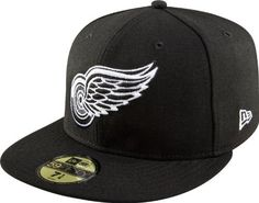 NHL Detroit Redwings Basic Black and White 59Fifty Cap 55b45ad56e7