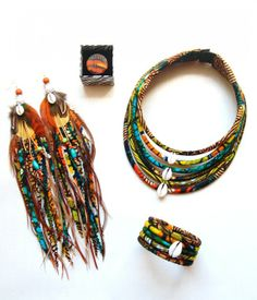 Maasai necklace / cowries wax * 6 rows
