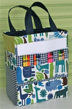 Art Caddy Tote PDF Sewing Pattern. Love this idea. You could even make it a little bigger for a sewing caddy tote