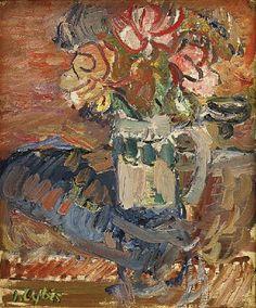 """Jan CYBIS (1897-1972)  Róże w śląskim kuflu olej, płótno, 55 x 46,5 cm; sygn. l.d.: J. Cybis; na odwrocie napis autorski: JAN CYBIS / """"Róże w śląskim kuflu"""" 1965 r. / 55 x 46 cm;"""