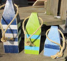 OOAK Reclaimed Wood Buoys. Wooden Buoys. Set of 3 Buoys. Handmade Nautical Decor. Beach Decor. Lake Decor on Etsy, $45.00