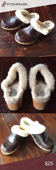 Ugg Clogs Size 8 Fur lined. Used but good condition. The leather upper and the bottoms are in very good condition. The wood is scratched up some. See pictures UGG Shoes Mules & Clogs