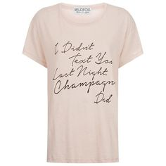 Wildfox Champagne Texting Tissue T-Shirt ($86) ❤ liked on Polyvore featuring tops, t-shirts, slogan t shirts, jersey top, off white tops, wildfox tops and jersey tee