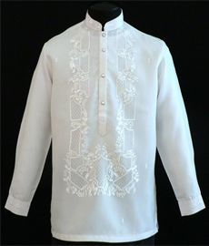 A sharp style for an impeccable formal look. This white raya barong is embroidered from front to back with chinese buttons.Color: WhiteMandarin Collar, Chinese buttonsTraditional four-button full-open frontLong SleevesClassic Formal fitWith lining Barong Tagalog Wedding, Mens Hottest Fashion, Filipino Wedding, Filipiniana Dress, Bespoke Shirts, Tropical Fashion, Line Shopping, Formal Looks, Groom And Groomsmen