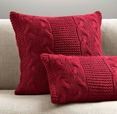 Knitting Pillow Patterns for Beginners Italian Wool & Alpaca Cable Knit Pillow Cover - Garnet Knitted Cushions, Knitted Blankets, Crochet Home, Knit Crochet, Crochet Scrubbies, Modern Crochet, Hand Knitting, Knitting Patterns, Red Pillows