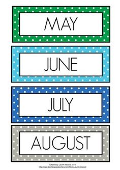 Months of the Year Coloured Polka Dot by Lauren Luchow Learning English For Kids, English Worksheets For Kids, Diy Calendar, School Calendar, Moths Of The Year, Preschool Charts, All About Me Printable, Colegio Ideas, Welcome To School