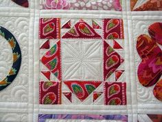 Dear Jane Kaffe Fasset. Lots more block photos at the website. Longarm quilting by Green Fairy Quilts