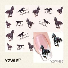 YZWLE 1 Sheet Horse Design New Arrival Water Transfer Nail Art Stickers Decal