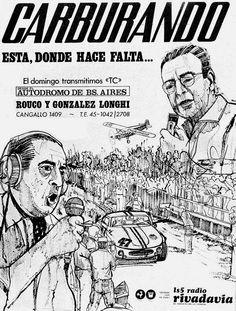 Publicidad del programa CARBURANDO. Radio RIVADAVIA, Buenos Aires, 1968.