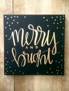 Merry and bright black and gold 12x12 hand lettered by ADEprints
