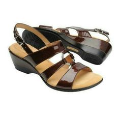 "Softspots Clara sandal wedge brown real leather Slingback patent leather sandals, hand painted outsole, pillow top comfort footbed (very comfy!), heel 2-1/2"", leather wrapped heel, crinkled brown, with hint of bronze shimmer color, man made balance.  Please use only ✔OFFER  button for all price negotiations. I'll do a price drop⤵ for you for discounted shipping, if we agree about the price. Softspots Shoes Wedges"