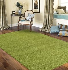 "Soft Cozy Solid Green 3'3"" X 5' Indoor Shag Area Rug Rugshop…"
