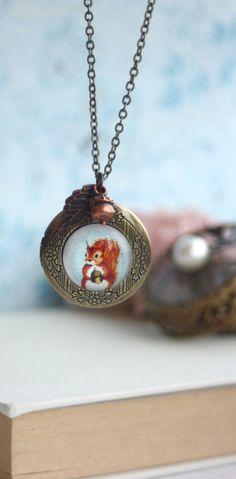 Squirrel, Acorn and Leaf Locket Necklace. Round Antiqued Brass Locket Jewelry By Marolsha.