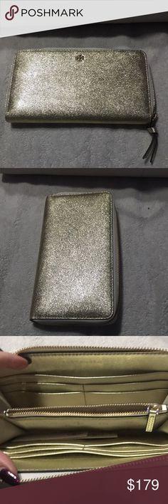 Tory Burch continental zip wallet Crinkle Metallic Gold zip continental wallet. Full size zip around wallet in spark gold. Tory Burch Bags Wallets