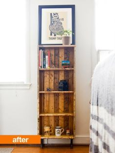 Before & After: Knotty Pine Looks So Fine From old open shelves to old closed shelves - cool stuff.