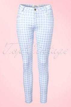 Daphnea Paris - 50s Brigitte Gingham Trousers in Baby Blue