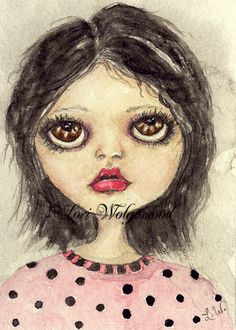 ACEO - Polka Dot Girl - Watercolor - Artist Print Instant Download