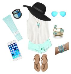 """""""Cute vacation outfit"""" by olivia-teel ❤ liked on Polyvore featuring beauty, Havaianas, Carmar, J.Crew, Michael Kors, Marc by Marc Jacobs, Topshop, Sephora Collection and KORA Organics by Miranda Kerr"""