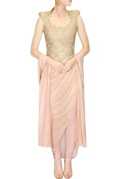 Gaurav Gupta presents Rose pink floral lace asymmetric draped kurta set available only at Pernia's Pop-Up Shop. Indian Dresses, Indian Outfits, Indian Clothes, Pernia Pop Up Shop, Prom Dresses, Formal Dresses, Wedding Wear, Western Wear, Indian Wear
